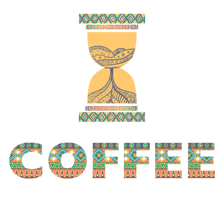 Ethnic african geometric style time to drink coffee