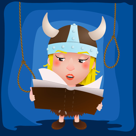 Cute cartoon girl viking