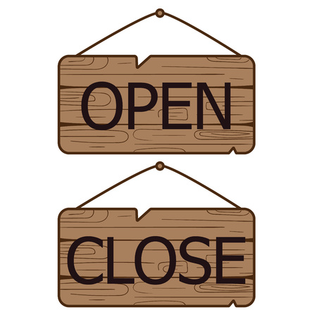 Open Close signs made of wood. Illustration