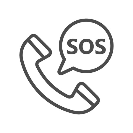 SOS icon with handset vector illustration 向量圖像
