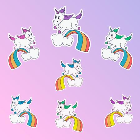 Magic unicorn patches. Trendy different colors unicorn stickers. Unicorn jumping through the rainbow. Teenage set.Vector illustration.