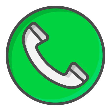 Green Call button. Vector symbol