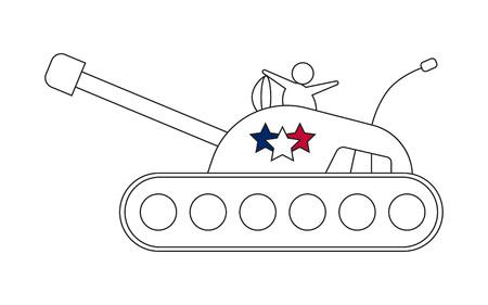 Tank line icon with stars Illustration