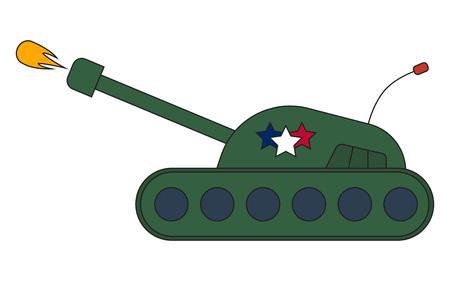 War battle Tank shooting projectile side view, vector illustration cartoon. Illustration