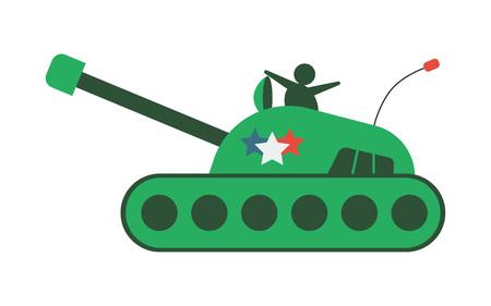 Flat hand-drawn cartoon tank, armored vehicle icon, vector illustration isolated on white background. Illustration