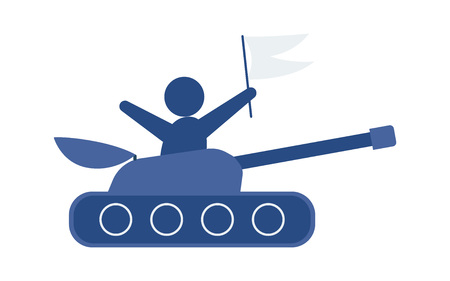 Flat hand-drawn cartoon tank, vector illustration isolated on white background. Flat cartoon vector icon of blue toy tank. Illustration