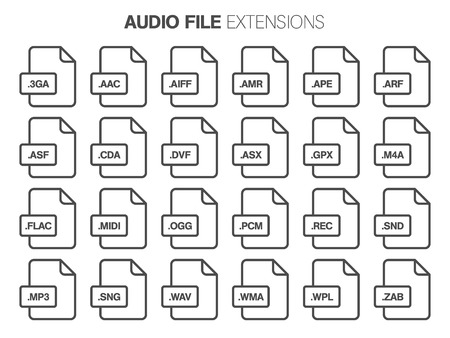 Flat style icon set. Audio, song, voice recording file type, extencion. Document format. Pictogram. Web and multimedia. Computer technology