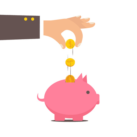 Piggy bank and hand with coin color illustration. Vector business concept. Vector illustration eps 8 Vettoriali