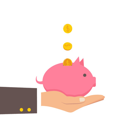 coin depositing in a money piggy bank on human hands. Vector business concept. Vector illustration eps 8 Vettoriali