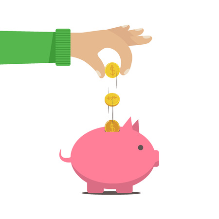 The man put money into a money box piggy bank. Vector illustration eps 8
