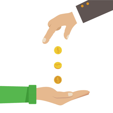 Businessman hands giving money to another hands concept, vector illustration eps 8