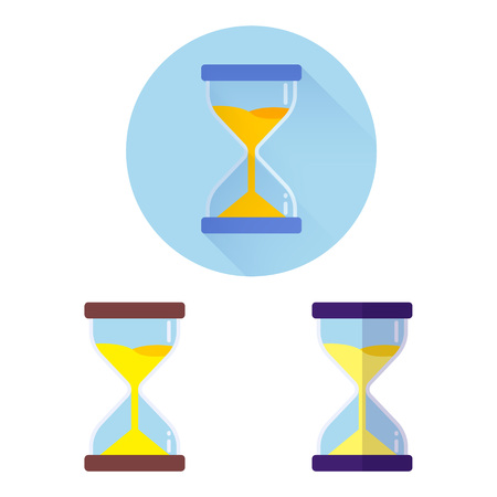 Modern flat vector three icon of hourglasses EPS 10