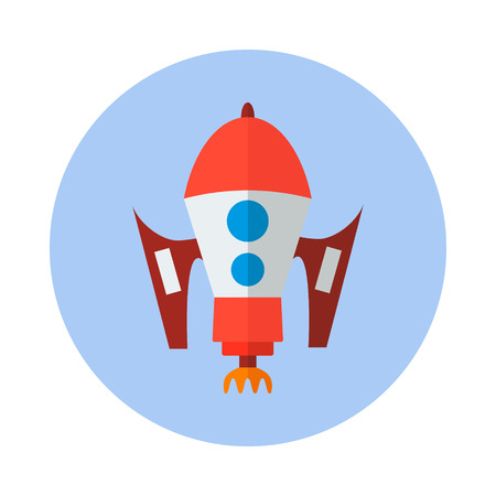 rocket, flat vector icon. Technology icon Vector illustration Vettoriali