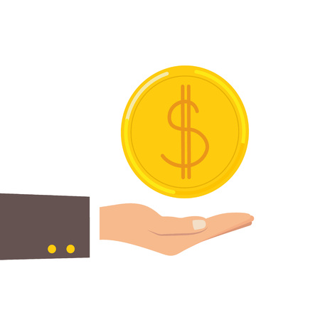 Return of an investment concept. Gold coin with sign of dollar currency on hand, palm of businessman. invest growth,finance plan, personal management, investment portfolio. Vector illustration EPS 8 Ilustrace