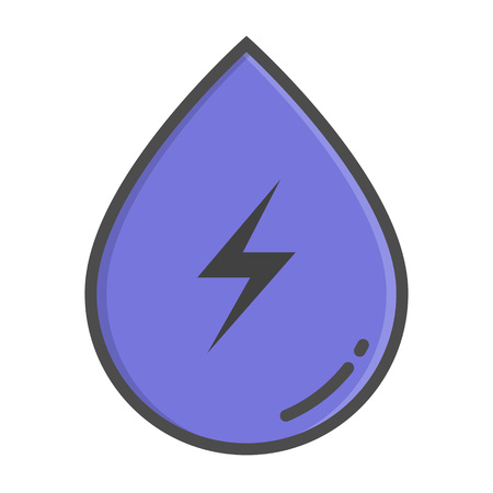 Hydropower color icon. Element of enviroment protection icon with name for mobile concept and web apps. Color icon can be used for web and mobile on white background