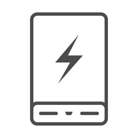 Power bank battery phone charger. Minimalistic flat Line. Outline stroke icon