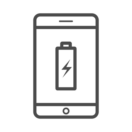 Charge phone vector outline icon isolated on white background. Charge phone line icon for infographic, website or app.Vecor outline icon