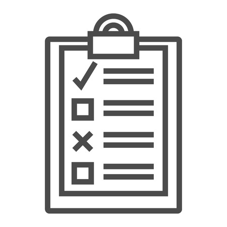 To-Do List Productivity Outline Icon. Vector on white background.