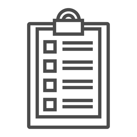 Paper with checklist line icon. Questionnaire, list to do, deadline. Survey concept. Vector illustration can be used for topics like business, service, management