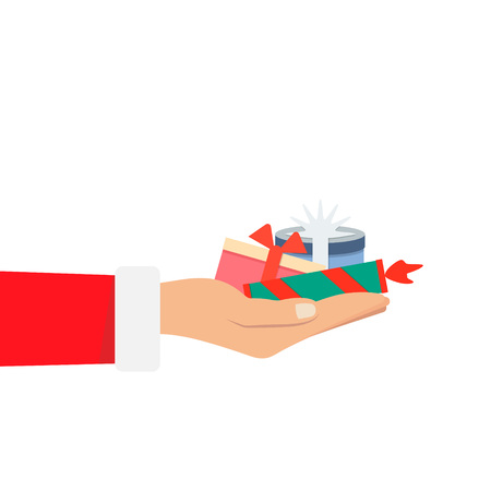 Hand of Santa Claus holding a big stack many christmas gift box on white background. Vector illustration flat color style
