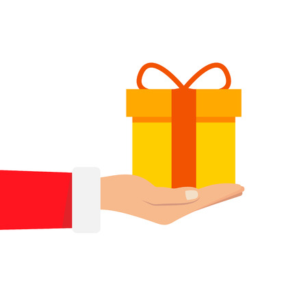 Gift from Santa Claus. Santa Claus holding white gift box in hand. Vector illustration flat design. Merry Christmas and Happy New Year w Stock Photo