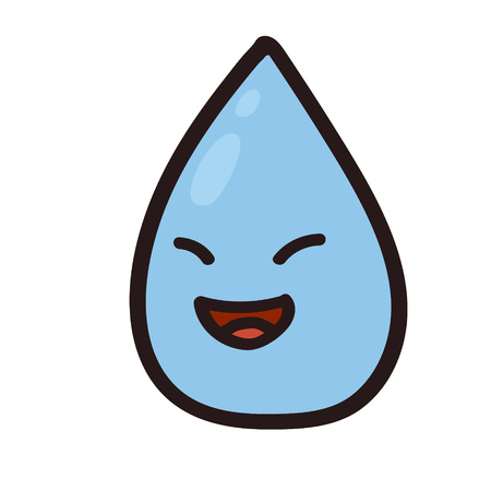 Vector illustration of a happy water drop. Rain color drop EPS8