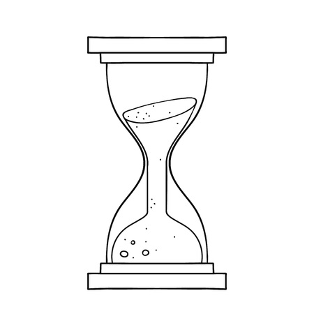 Freehand drawn black and white cartoon sand timer hourglass. Vector illustration EPS 8
