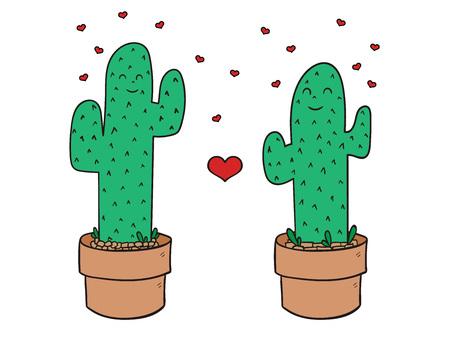 Cute cactus illustration. Pefect for valentine s day. EPS8 일러스트