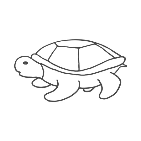 Hand Drawn turtle doodle. Sketch style icon. Decoration element. Isolated on white background. Flat design. Vector illustration. EPS 8
