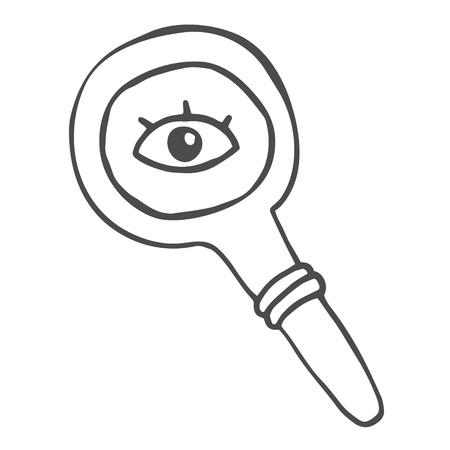 Quirky drawing of a magnifying glass with eye. Doodle