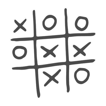 Handgezeichnetes Tic-Tac-Toe-Spiel. Vektorillustration lokalisiert auf weißem Hintergrund. Vektorgrafik