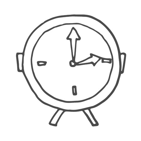 Doodle alarm clock. Vector illustration isolated on white background. EPS 8