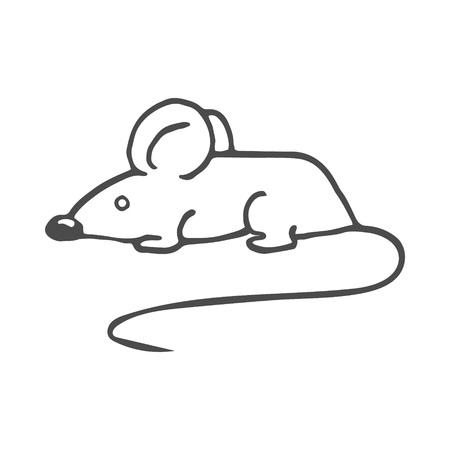 Cartoon white mouse. Vector illustration isolated on white background. EPS 8