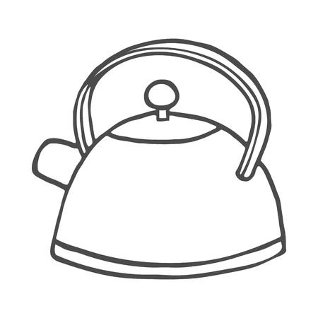Handgezeichnete Teekanne auf weißem Hintergrund. Vektor-Illustration. Eps 8