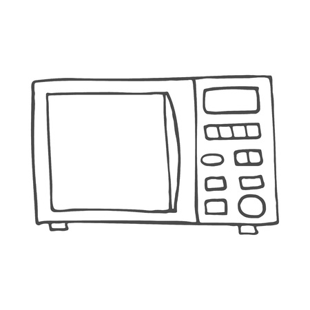 Simple hand drawn doodle of a microwave. Vector illustration isolated on white background. EPS 8