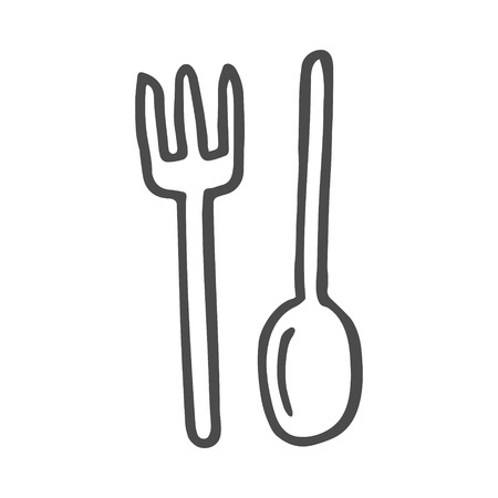 doodle simply fork and spoon, vector illustration, eps 8