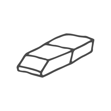 Doodle eraser.Vector illustration isolated on white background. EPS 8
