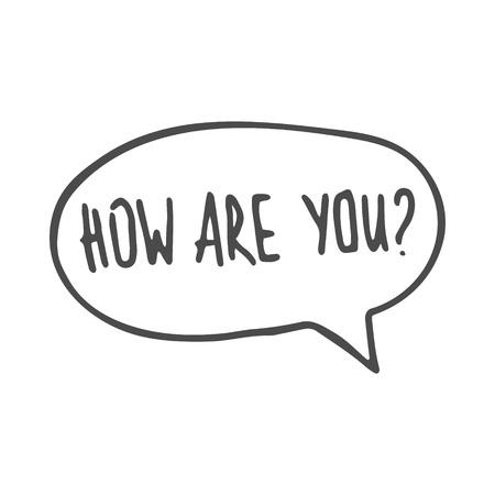 Bocadillo de diálogo dibujado a mano como estás. Ilustración vectorial. EPS 8 Logos