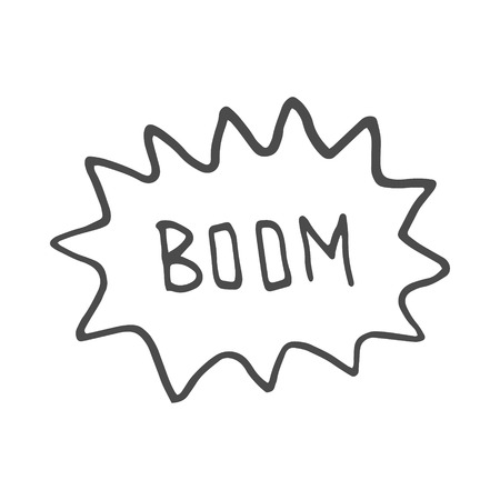 Boom. Comic book explosion.hand draw vector illustration. Doodle