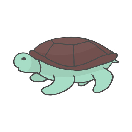 Hand Drawn turtle color doodle. Sketch style icon. Decoration element. Isolated on white background. Flat design. Vector illustration. EPS 10