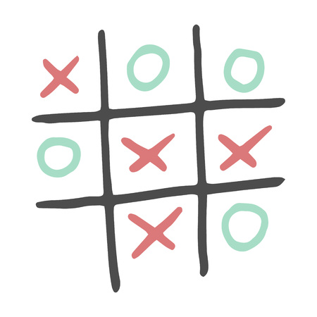 Hand-drawn tic tac toe game. Vector color illustration isolated on white background.