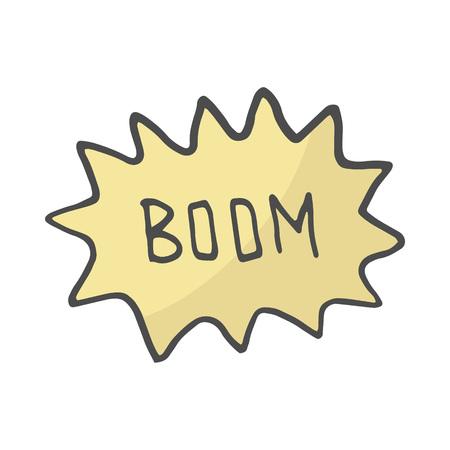 Color Speech Bubble Boom. Comic book explosion. hand draw vector illustration. Doodle