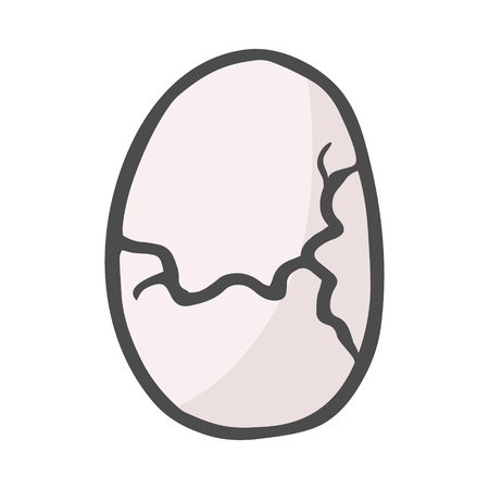 Color freehand drawn cartoon cracked egg. Vector illustration isolated on white background.