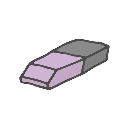 Doodle color eraser. Vector illustration isolated on white background. EPS 10
