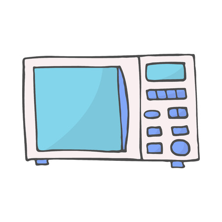 color hand drawn doodle of a microwave. Vector illustration isolated on white background. EPS 10
