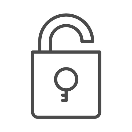 Unlock outline vector security icon with key. Eps 8