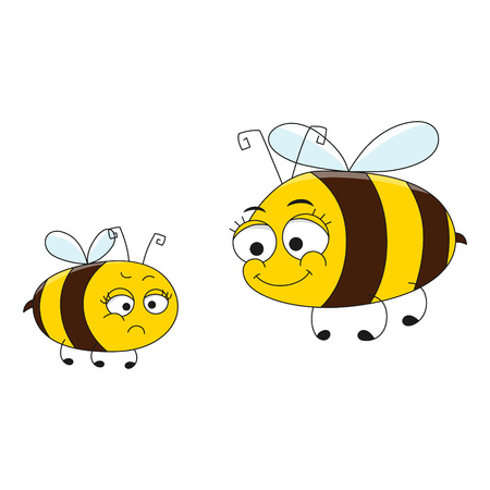 Happy Mother and Angry Daughter Bee. Cartoon characters. Vector illustration