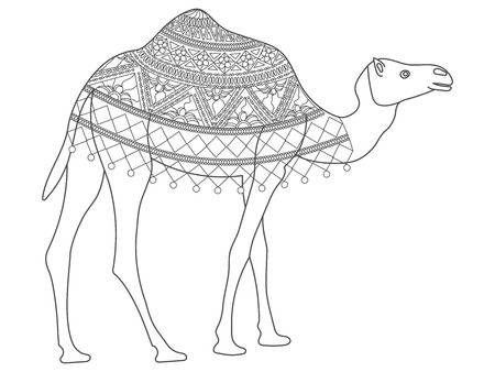 Decorative camel with an ornament on mantle . EPS 8. Illustration