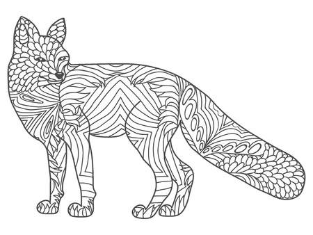 vector happy Fox for adult anti stress coloring pages. Ornamental tribal patterned illustration for tattoo, poster, print. Hand drawn sketch isolated on white background. Ilustracja