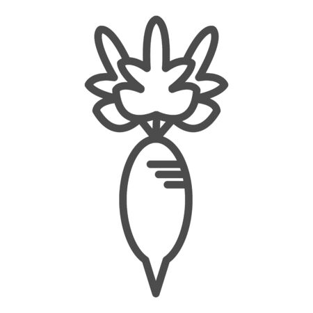 outline radish vector icon. isolated black simple line element illustration from fruits concept.